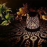 Volwco Farol solares Exterior Jardin, Colgante Lámpara de Metal de Luces, IP65 Impermeable, decoración de Lámpara de Mesa Retro romántica para Patio, Terraza [Clase de eficiencia energética A]