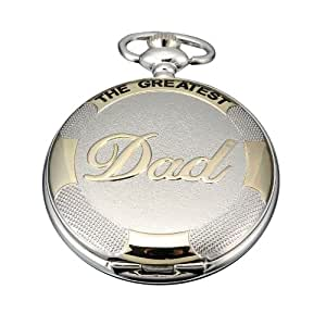 AMPM24 Mens Silver Golden Dad Dangle Pendant Pocket Quartz Watch + Chain