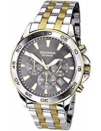 Sekonda Men's Quartz Watch with Black Dial Analogue Display and Silver Stainless Steel Bracelet 1570.27