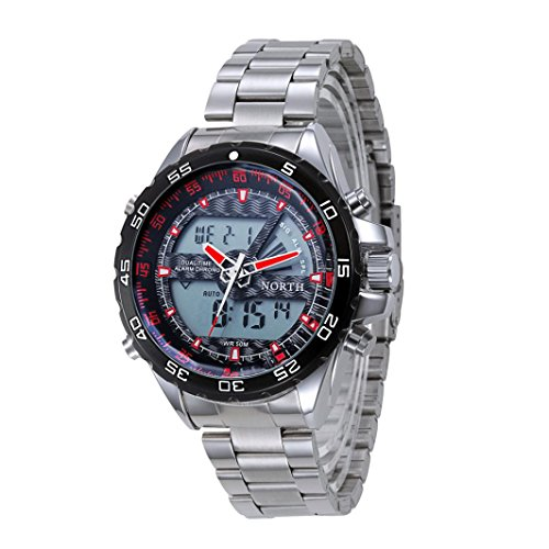 Preisvergleich Produktbild Sansee Double Movement Quarz Armbanduhr Edelstahl Armband Herren Watch-North Herren 's drei Grad wasserdichte Quarzuhr N - 6016 (Rot)