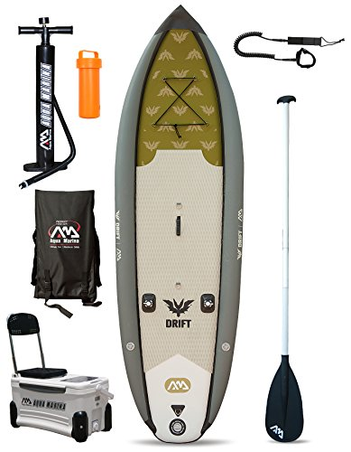 Drift Angeln Specialist SUP aufblasbares Stand Up Paddle Board (Sim2 SM3 W 10 in/3 m) grau Board + Paddle + Leash (Leash Attachment)