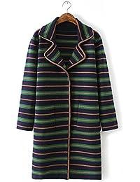 Ladies Nueva elegante Tejido de rayas Jersey de punto abrigo