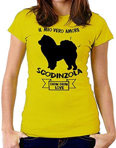 Tshirt Il mio vero amore scodinzola - chow chow love - dog - humor - tshirt simpatiche e divertenti - Tutte le taglie by tshirteria Giallo