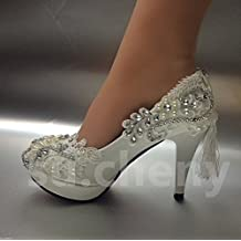 JINGXINSTORE Luz blanca de cristal Lace wedding shoes tacones nupcial bombas ,UK 8.5, blanco