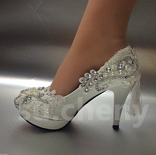 JINGXINSTORE Weißes Licht Spitze Kristall Hochzeit Schuhe Braut Heels Pumps, UK 5,5, Weiß