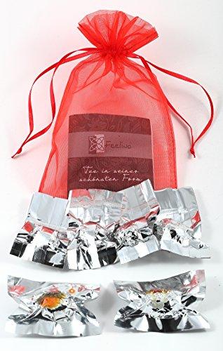 6er-Mix Teeblumen aus Weißtee, Schwarztee- und Grüntee mit natürlichen Calendula, Jasmin,...
