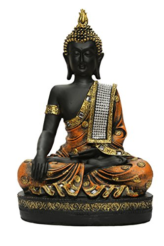 HEERAN ART Polyresin Sitting Buddha Idol Statue Showpiece 27 cm Orange and Black