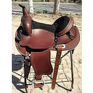 GCSEY Pferdesattel Westernsattel Leder Reiten Ausrüstung Sattel Stoßdämpfer Fahrkomfort