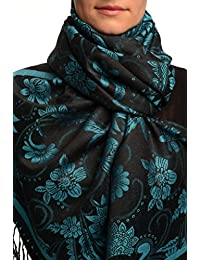 True Blue Garden Flowers On Black Pashmina Feel With Tassels - Noir ?charpe Taille Unique (70cm x 180cm)