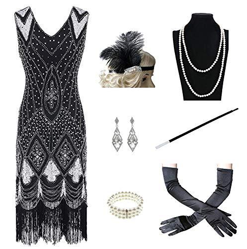 Charm.L Grace Costume 1920er Jahre Damen Gatsby Kostüm Flaper Kleider V-Ausschnitt Fransen Kleid mit 20er Jahre Zubehör Set - Schwarz - Small (1920's Vintage Kostüm Schmuck)