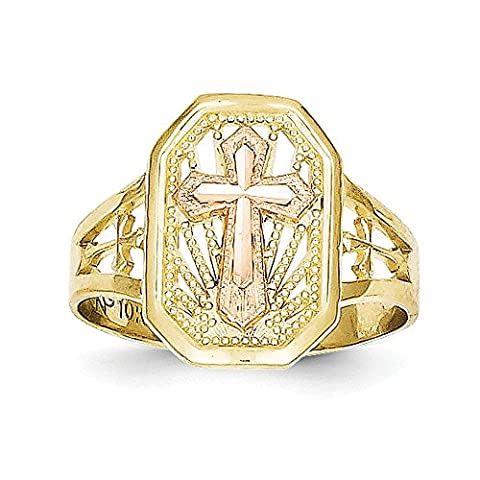10k Two-Tone Gold Filigree Cross Ring - Higher Gold Grade Than 9ct Gold