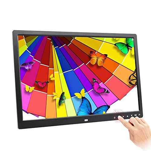 H&L Digitaler FotoRahmen, Lithium-Akku 17-Zoll Wide HD LED Touch-Taste multifunktionaler WerbeMaschine elektronischer Bilderrahmen (schwarz)