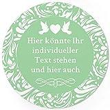 24 PERSONALISIERTE runde Etiketten zur Hochzeit mit Motiv: Hell Grün/mint - Ihre Aufkleber online selbst gestaltet, ganz individuell