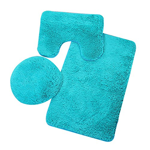 Etbotu rutschfester Badezimmer-Teppich, 3-teiliges Set, O-förmiger WC-Deckelbezug, U-Form-Matte, rechteckiger Teppich, blau, 50 x 80 cm -