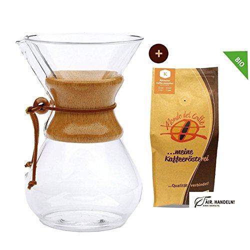 Set Chemex Kaffeekaraffe für bis zu 8 Tassen (1200 ml) mit 250 g Filterkaffee, Mondo del Caffè (Chemex Drip Coffee Maker 8 Cups) 5 Cup Drip Coffee Maker