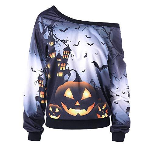 VEMOW Custume Damen Halloween Party Skew Neck Herbst Frühling Kürbis Print Casual Party Täglich Sport Sweatshirt Jumper Pullover Tops(Grau, EU-48/CN-2XL)