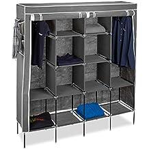 Relaxdays Valentin armario plegable, Metal y tela y material sintético, antracita, 43x 167x 181cm