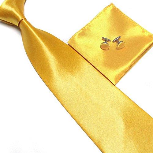 cravate-pochette-bouton-de-manchettes-satinee-or-neuf