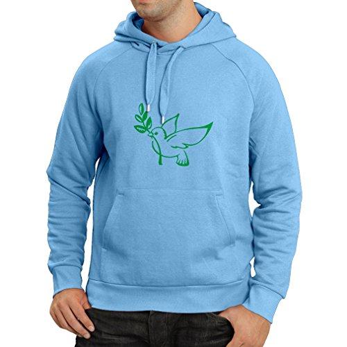 lepni.me Kapuzenpullover Die Taube und der Ölzweig - Symbole des Friedens (Medium Blau Grün)
