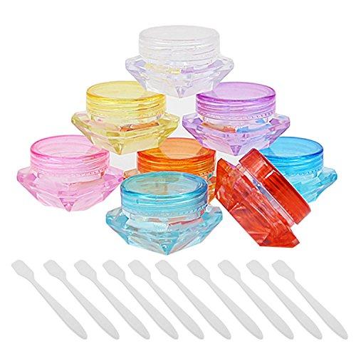 50 PCs 5G récipients vides rechargeables flacon de bouteilles pour cosmétiques maquillage crèmes lotions huile essentielle baume pour les lèvres avec 10 PCs mini cuillère couleurs aléatoires