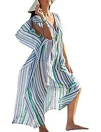 Yogogo Femme BohêMe ÉTé Sexy Maxi Robes Beach Sarongs Cover Up Pour Swimsuit En Vrac Sexy Bikini Taille Haute Couvrante Creux Robe (Orange)