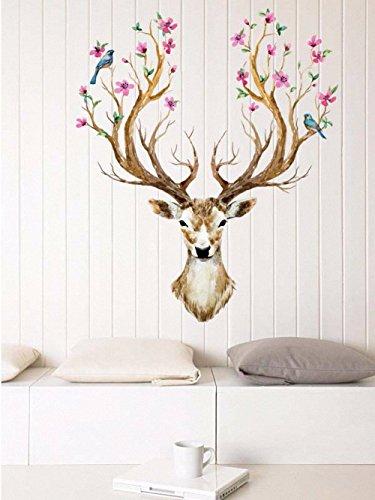 aohang-deer-head-decorative-wall-sticker-vinyl-mural-wall-art-home-decor-60x90cm