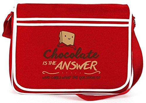 Shirtstreet24, Chocolate Is The Answer, Retro Messenger Bag Kuriertasche Umhängetasche Rot