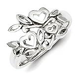 Sterling Silber Herz und Blumenranken-Ring-Größe N 1/2-JewelryWeb