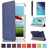 Samsung Galaxy Tab E 9.6 Pelle,Slim-Book Smart Case and Cover Posteriore Custodia in Pelle per Samsung Galaxy Tab E 9.6'' Pollici SM-T560/SM-T561 Case Caso Pelle con Supporto + pellicola protettiva + Pennino,Blu scuro