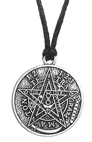 Ancient Hebreo Esoterico Tetragrammaton Pentagram Nombre de Dios Colgante Collar Blessing Joyeria para Hombre