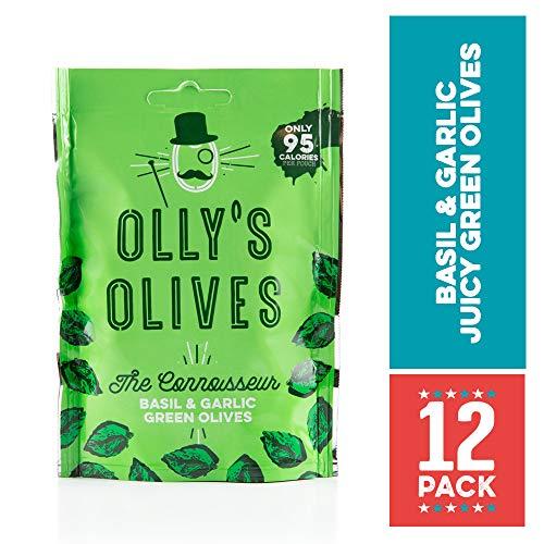 Ollys Oliven | Grüne Oliven mit Basilikum und Knoblauch | Der Genießer - 12 x 50g Beutel
