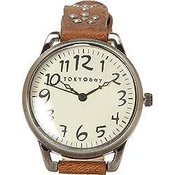 Tokyobay T259-BR Damen-Edelstahl-Lederband weißes Zifferblatt Watch