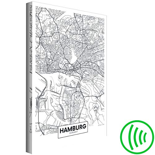 decomonkey Akustikbild Weltkarte 60x90 cm 1 Teilig Leinwand Wandbilder XXL Schallschlucker Schallschutz Akustikdämmung Wand Bild leise Hamburg schwarz weiß