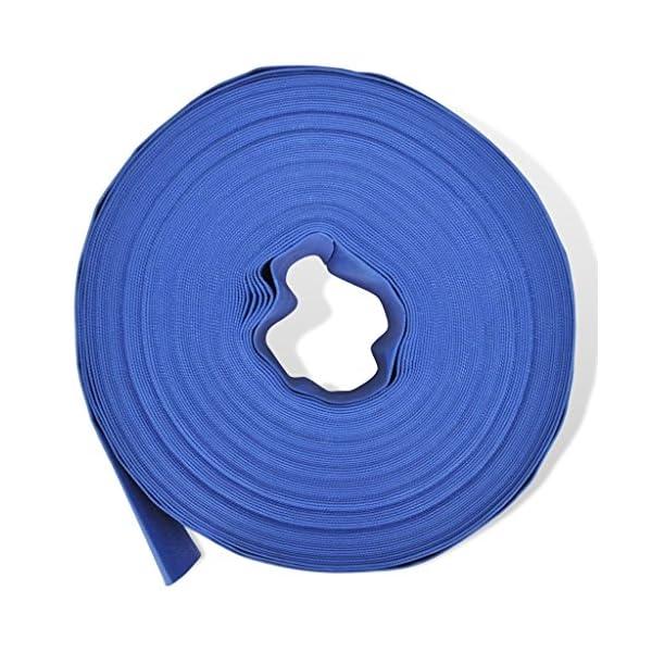 "mewmewcat Fire Hose Flat Water Discharge Hose 50 m 2"" PVC Blue 2"