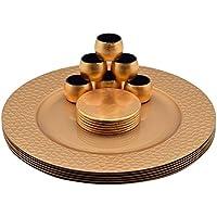 Argon Tableware Set aus Platztellern, Untersetzern & Serviettenringen - Rund - Goldfarben - 18er-Set (6 Platzteller in gehämmerter Optik, 6 Untersetzer & 6 Serviettenringe)