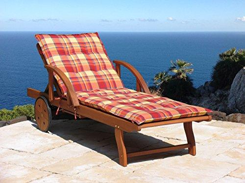 Gartenliege Rio Grande mit Kissen Sunshine Holz Liege Sonnenliege Relaxliege