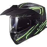 LS2 FF324 Metro Evo Casque Moto Modulable Double Visière pour Scooter Chopper Casque de Moto Homme et Femme Matt Black-Glow Green XXS (51-52cm)