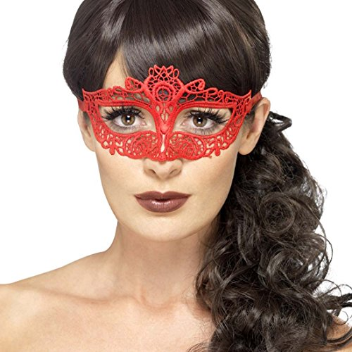 e Venezianische Maske rot Augenmaske Maskenball Ballmaske aus Spitze Maske Karneval in Venedig Venedigmaske ()