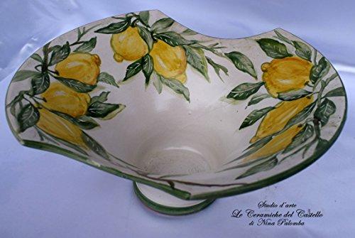 Centrotavola linea limoni decorato a mano le ceramiche del castello nina palomba made in italy dimensioni h 12 x l 35 centimetri.