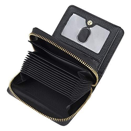 COCASES Damen Leder Portemonnaie und Kreditkartenetui in Einem mit diversen Fächern und Schlaufe Schwarz