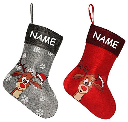 Unbekannt 2 TLG. Set: Weihnachtssocke -  Didi das kleine Rentier / Weihnachten  - incl. Name - Filzstrumpf & Nikolausstrumpf - Nikolausstiefel - großer Geschenke Stru..