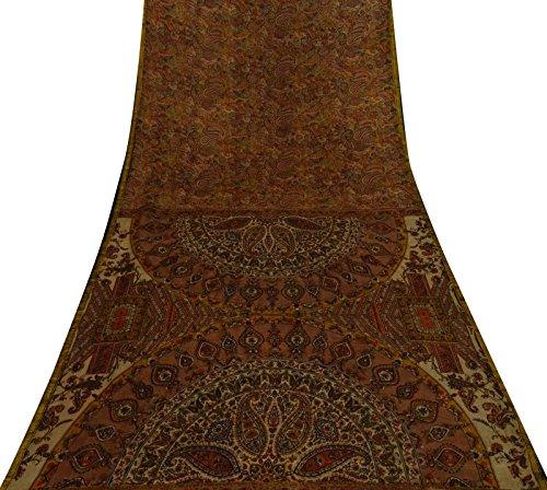Vintage indische Brown Paisley gedruckte reine Seide Saree Ethnic Sari Craft Fabric (Sari Paisley)