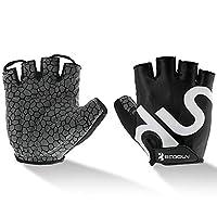 UPANBIKE Men Women Cycling Gloves with Shock-Absorbing Gel Pad Breathable Half Finger Mountain Bicycle Bike Road Racing Gloves Medium Black