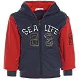 Baby Jungen Hoodie Pullover Jacke Kapuze Sweatshirt Sweatjacke 21250, Farbe:Blau;Größe:104