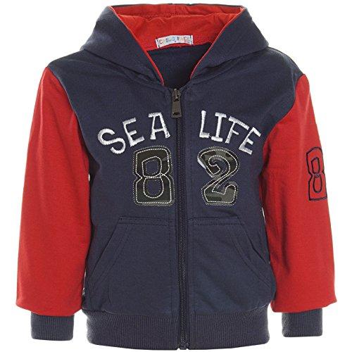 Baby Jungen Hoodie Pullover Jacke mit Kapuze Sweatshirt Sweatjacke 21250, Farbe:Blau;Größe:86 (Jungen Kleid T-shirt Größe 18)