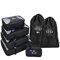 Packing Cubes,Coofit 7 Set Packing Bags Luggage Organizer with Laundry Bag Toiletry Bag Shoe bags for Travel