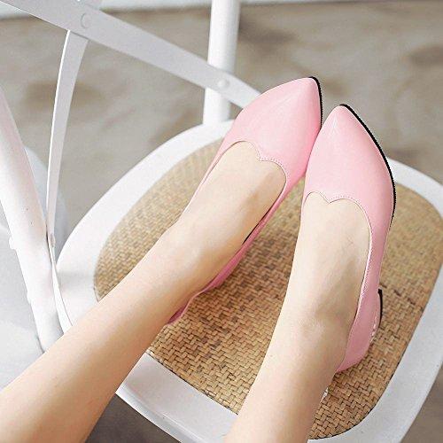 Senhoras Com Doce Apontou Moderna Salto Sapatos Bombas Mee De Strass Popular Espessura Baixo Rosa Fechado Couro 5qgxwU
