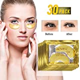 24k Gel de oro colágeno mascarilla para ojos, antiedad, ácido hialurónico, parches para los ojos debajo de la mascarilla para hidratar y reducir los círculos oscuros, hinchazón, arrugas (30 pares)
