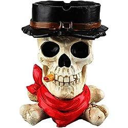 Amosfun Creativo cráneo con sombrero de resina