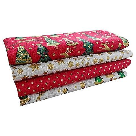 Noël Tissu Coton Craft Fat Quarter Bundle–Arbre de Noël, pois et étoiles Mix